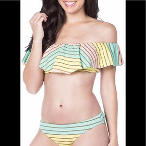 Trina Turk metallic stripe ruffle bikini top swim